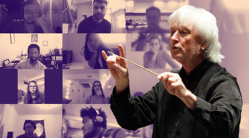 Carl St.Clair holding conducting baton, with tiled Zoom images in the background